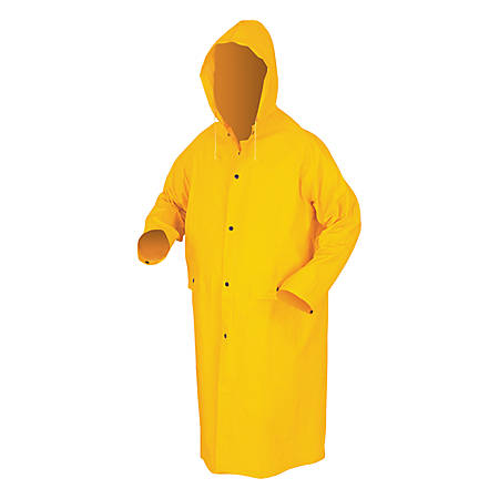 Classic Rain Coat, Detachable Hood, 0.35 mm PVC/Polyester, Yellow, 49 in X-Large