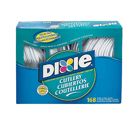 Dixie® Heavy-Weight Plastic Cutlery Combo Box, White, Box Of 168