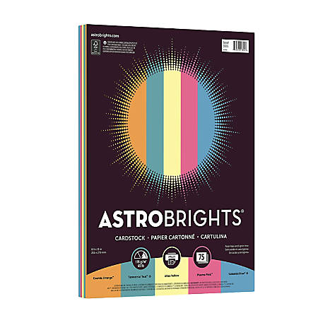 Astrobrights® Bright Cover Paper, Letter Size Paper, 65 Lb, FSC® Certified, Limited Edition Assorted Colors 3, Ream Of 75 Sheets