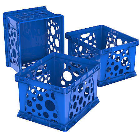 """Storex Large File Crates, 9"""" x 7-3/4"""" x 6"""", Classroom Blue, Pack Of 3 Crates"""