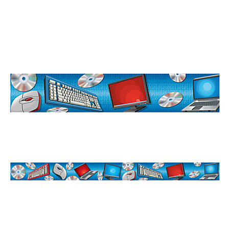 "Teacher Created Resources Border Trim, Straight, 3"" x 35"", Computer, Pre-K - College, Pack Of 12"