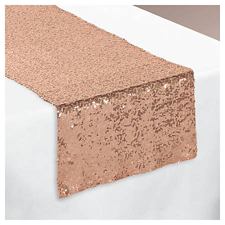"""Amscan Fabric Table Runner, 13"""" x 72"""", Rose Gold Sequin"""