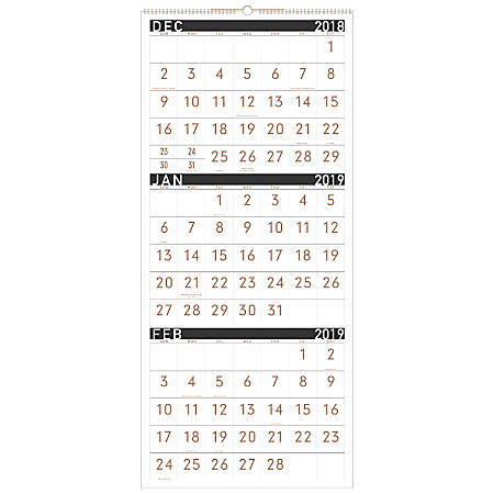 """AT-A-GLANCE® Contemporary 14-Month 3-Month Reference Monthly Wall Calendar, 12"""" x 27"""", December 2018 to February 2020"""
