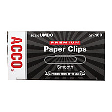 ACCO Premium Paper Clips Jumbo 100