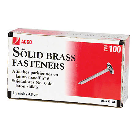 "ACCO® Round-Head Solid Brass Fasteners, No. 6R, 1 1/2"", Box Of 100"