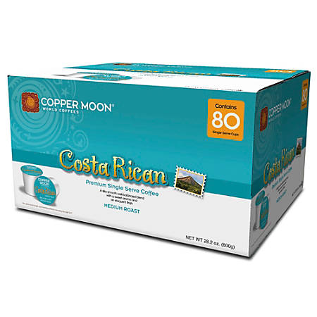 Copper Moon Coffee Single Cups, Costa Rican, 0.35 Oz, Pack Of 80
