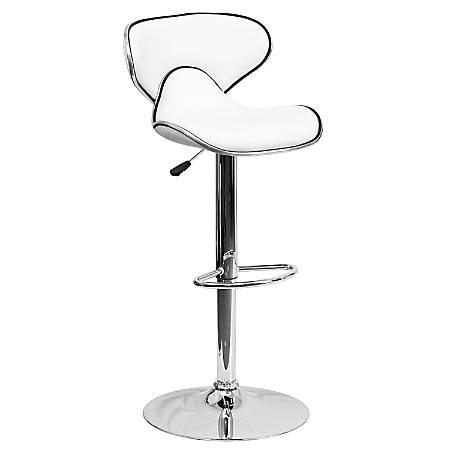 Flash Furniture Cozy Mid-Back Adjustable Bar Stool, Gray/White