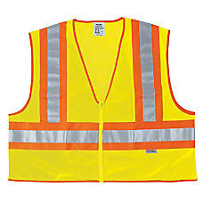 FLUORESCENT LINE SAFETYVEST W ORNGSIL STRIPES