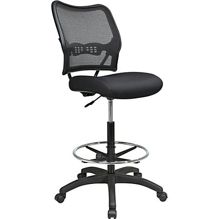 """Office Star™ Space Fabric Drafting Chair With Nylon Base, 51""""H x 21 1/4""""W x 25 1/2""""D, Black"""