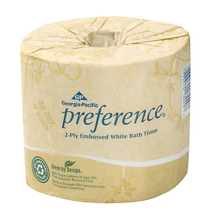 Georgia-Pacific Preference® Embossed Bathroom Tissue, 550 Sheets Per Roll, Case Of 40 Rolls