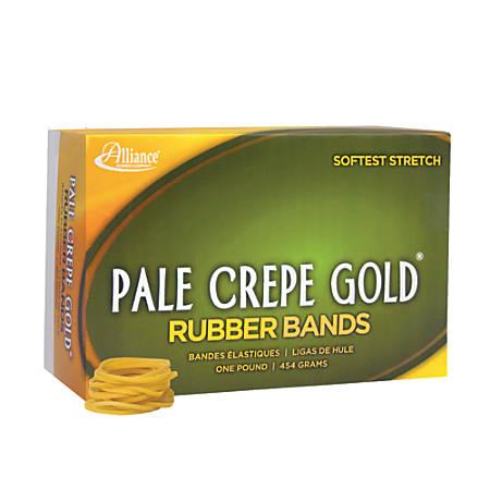 "Alliance® Pale Crepe Gold® Rubber Bands, #12, 1 3/4"" x 1/16"", 1 Lb, Box Of 3,850"