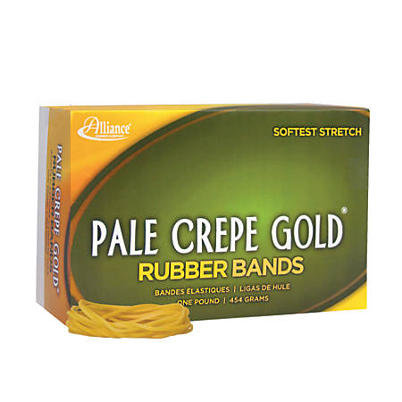 "Alliance® Pale Crepe Gold® Rubber Bands , #18, 3"" x 1/16"", 1 Lb, Box Of 2,205"