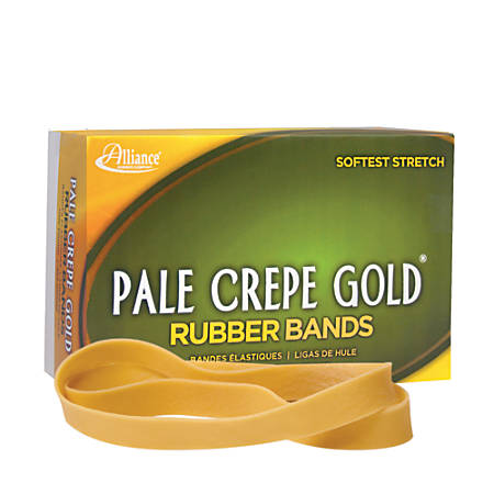 "Alliance® Pale Crepe Gold® Rubber Bands, #107, 7"" x 5/8"", 1 Lb, Box Of 60"