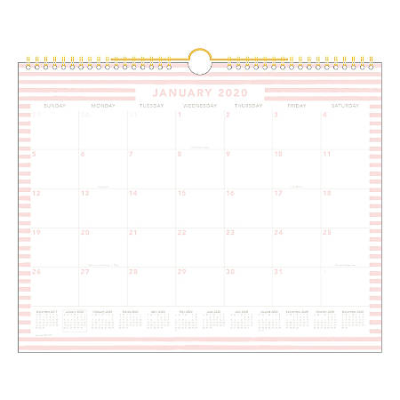 """Cambridge® Knot And Bow Rocky Stripe Monthly Wall Calendar, 12"""" x 15"""", Orange/Pink, January To December 2020, W1295-707"""