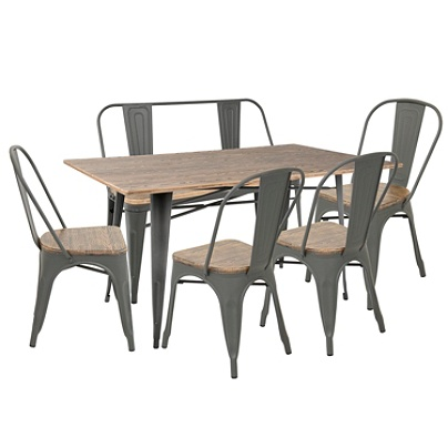 Lumisource Oregon Farmhouse Dining Table With 1 Bench And 4 Chairs Graybrown By Office Depot Officemax