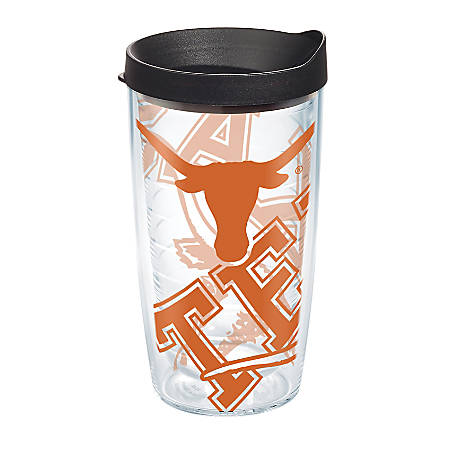 Tervis Genuine NCAA Tumbler With Lid, Texas Longhorns, 16 Oz, Clear