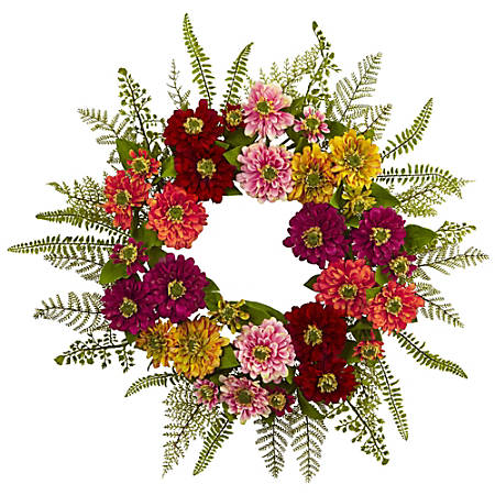 """Nearly Natural Plastic Mixed Flower Wreath, 20"""", Multicolor"""