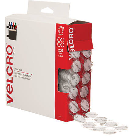 """VELCRO® Brand Tape Combo Pack, 3/4"""" Dots, White, Case Of 200 Dots"""