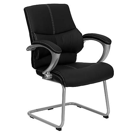 Flash Furniture Leather Side Chair, Black/Silver