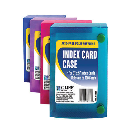 "C-Line® Index Card Cases, 100-Card Capacity, 3"" x 5"", Assorted Colors, Pack Of 24"