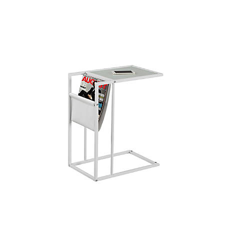 Monarch Specialties Accent Table With Magazine Holder, Rectangular, White