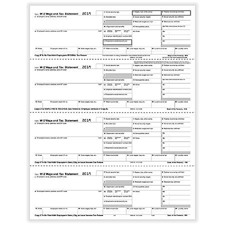 """ComplyRight™ W-2 Tax Forms, Inkjet/Laser, Employee Copy B, C, 2 And Local/City Tax, 4-Up Horizontal, 8-1/2"""" x 11"""", Pack Of 50 Forms"""