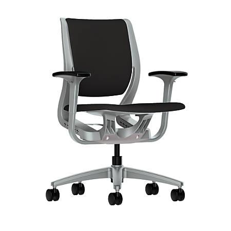 HON® Purpose Upholstered Mid-Back Task Chair, Black/Platinum