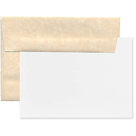 "JAM Paper® Stationery Set, 5 1/4"" x 7 1/4"", 30% Recycled, Set Of 25 White Cards And 25 Natural Envelopes"