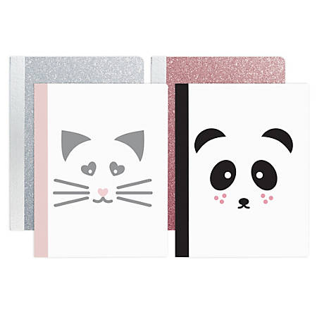 "Office Depot® Brand Fashion Animal Glitter Composition Notebook, 9-3/4"" x 7-1/2"", Wide Ruled, 160 Pages (80 Sheets), Assorted Colors"