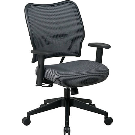 "Office Star™ Deluxe Task Chair With VeraFlex™ Seat And Back, 40""H x 27""W x 26 1/2""D, Black Frame, Charcoal Fabric"
