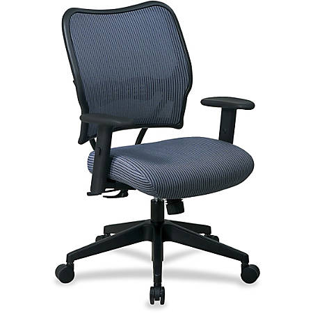 """Office Star™ Deluxe Task Chair With VeraFlex™ Seat And Back, 40""""H x 27""""W x 26 1/2""""D, Black Frame, Blue Mist Fabric"""