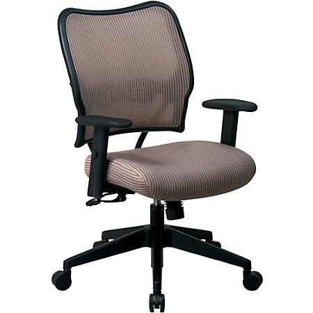 """Office Star™ Deluxe Task Chair With VeraFlex™ Seat And Back, 40""""H x 27""""W x 26 1/2""""D, Black Frame, Latte Fabric"""