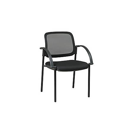 """Office Star™ Work Smart Screen Back/Mesh Seat Guest Chair With Arms, 32 3/4""""H x 24""""W x 23 1/2""""D, Black"""