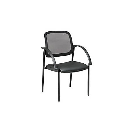 "Office Star™ Work Smart Screen Back/Faux Leather Seat Guest Chair With Arms, 32 3/4""H x 24""W x 23 1/2""D, Black"