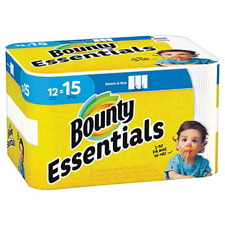 "Bounty Essentials 2-Ply Paper Towels, Select-A-Size, 11"" x 5 7/8"", White, 78 Sheets Per Roll, Carton Of 12 Rolls"