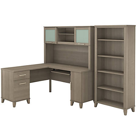 """Bush Furniture Somerset L Shaped Desk With Hutch And 5 Shelf Bookcase, 60""""W, Ash Gray, Standard Delivery"""