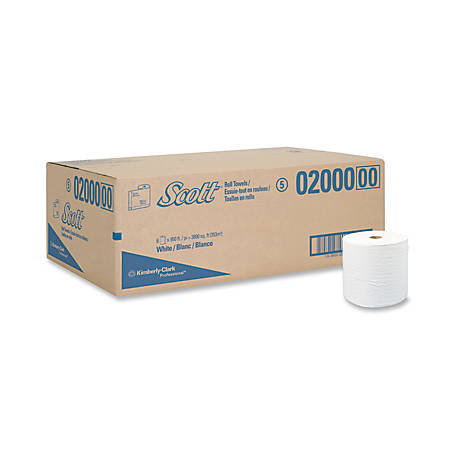 """Scott® Professional™ 40% Recycled 1-Ply Paper Towel Rolls, 8"""" x 950', White, Case Of 6 Rolls"""