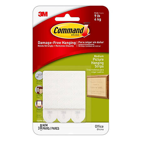 "3M™ Command™ Damage-Free Picture-Hanging Strips, Medium, 2-3/4"" x 3/4"", White, Pack Of 3 Pairs Of Strips"