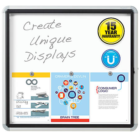 """Quartet® Enclosed Outdoor Use Magnetic Dry-Erase Whiteboard, Steel, 27"""" x 30"""", White/Silver"""