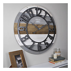FirsTime & Co.® Shabby Planks Wall Clock, Rustic Gray