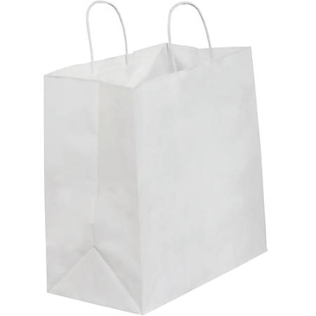 """Partners Brand Paper Shopping Bags, 13""""W x 7""""D x 13""""H, White, Case Of 250"""