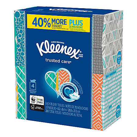 Kleenex® Trusted Care 2-Ply Facial Tissues, White, 70 Tissues Per Box, Pack Of 4