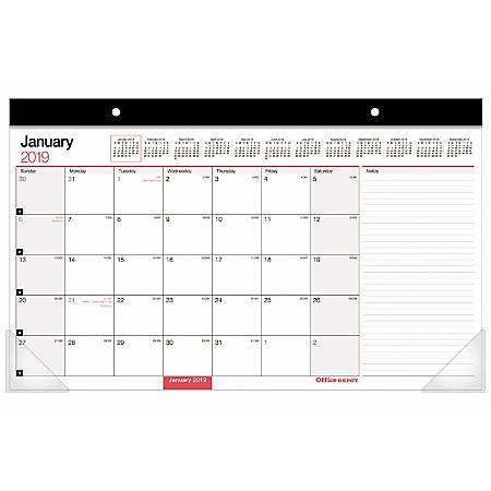 "Office Depot® Brand Monthly Desk Pad Calendar, 17"" x 11"", White, January To December 2019"