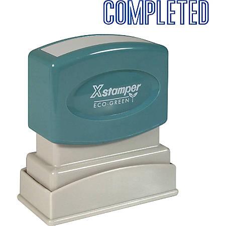 "Xstamper® One-Color Title Stamp, Pre-Inked, ""Completed"", Blue"