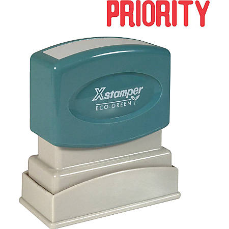 "Xstamper® One-Color Title Stamp, Pre-Inked, ""Priority"", Red"