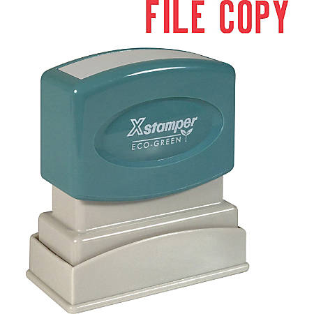 "Xstamper® One-Color Title Stamp, Pre-Inked, ""File Copy"", Red"