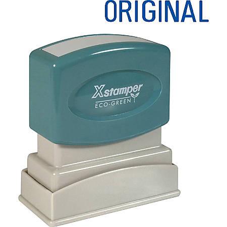 """Xstamper® One-Color Title Stamp, Pre-Inked, """"Original"""", Blue"""