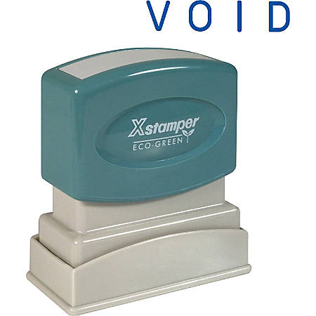 "Xstamper® One-Color Title Stamp, Pre-Inked, ""Void"", Blue"