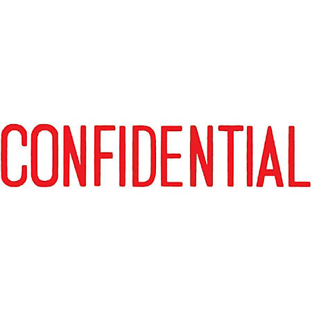 """Xstamper® One-Color Title Stamp, Pre-Inked, """"Confidential"""", Red"""