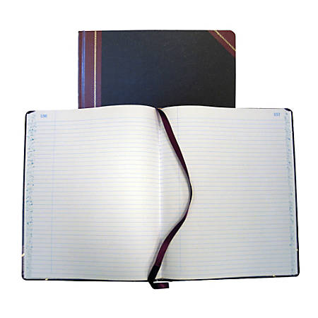 "National® Brand Hardbound Columnar Record Book, 9 5/8"" x 7 5/8"", 50% Recycled, Black, 27 Lines Per Page, Book Of 150 Pages"